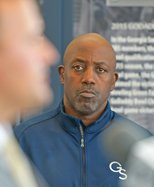 Newly named  interim coach Kevin Whitney waits his turn to take the podium as Georgia Southern athletic director Jared Benko answers questions from the news media during a press conference at the Smith Football Center on Monday, Sept. 27. Head football co