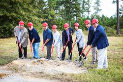 Pictured at the groundbreaking ceremony are, let to right: Bobby Smith - Chairman of Screven County Development Authority, project engineers Tim Formaz and Dennis Poma, Lance Hai Li - President of New Bay Technology, Colin Shi Liu - Chairman and President